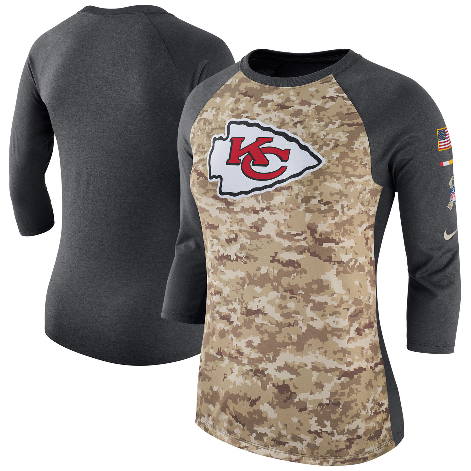 Women's Kansas City Chiefs Nike Camo Charcoal Salute to Service Legend Three-Quarter Raglan Sleeve T Shirt
