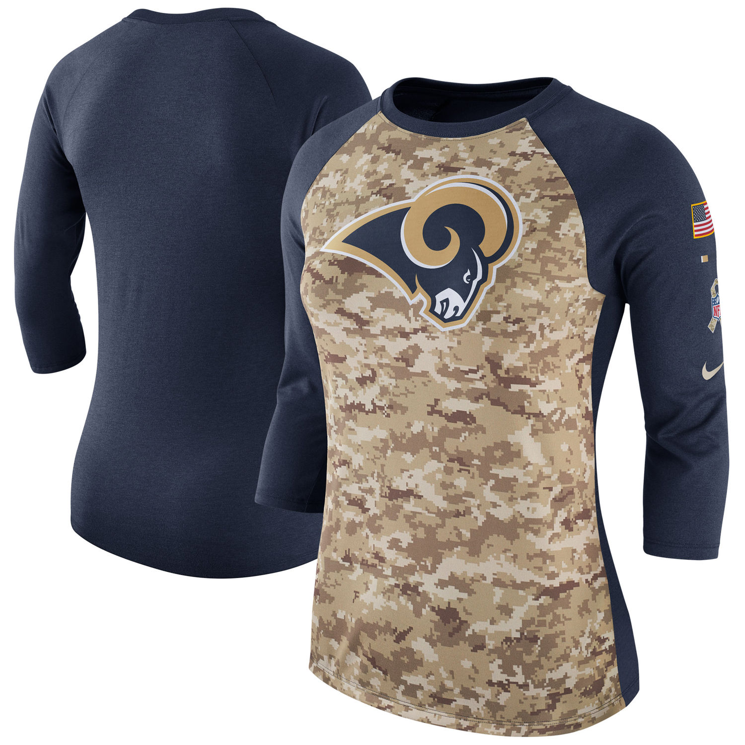 Women's Los Angeles Rams Nike Camo Navy Salute to Service Legend Three-Quarter Raglan Sleeve T Shirt