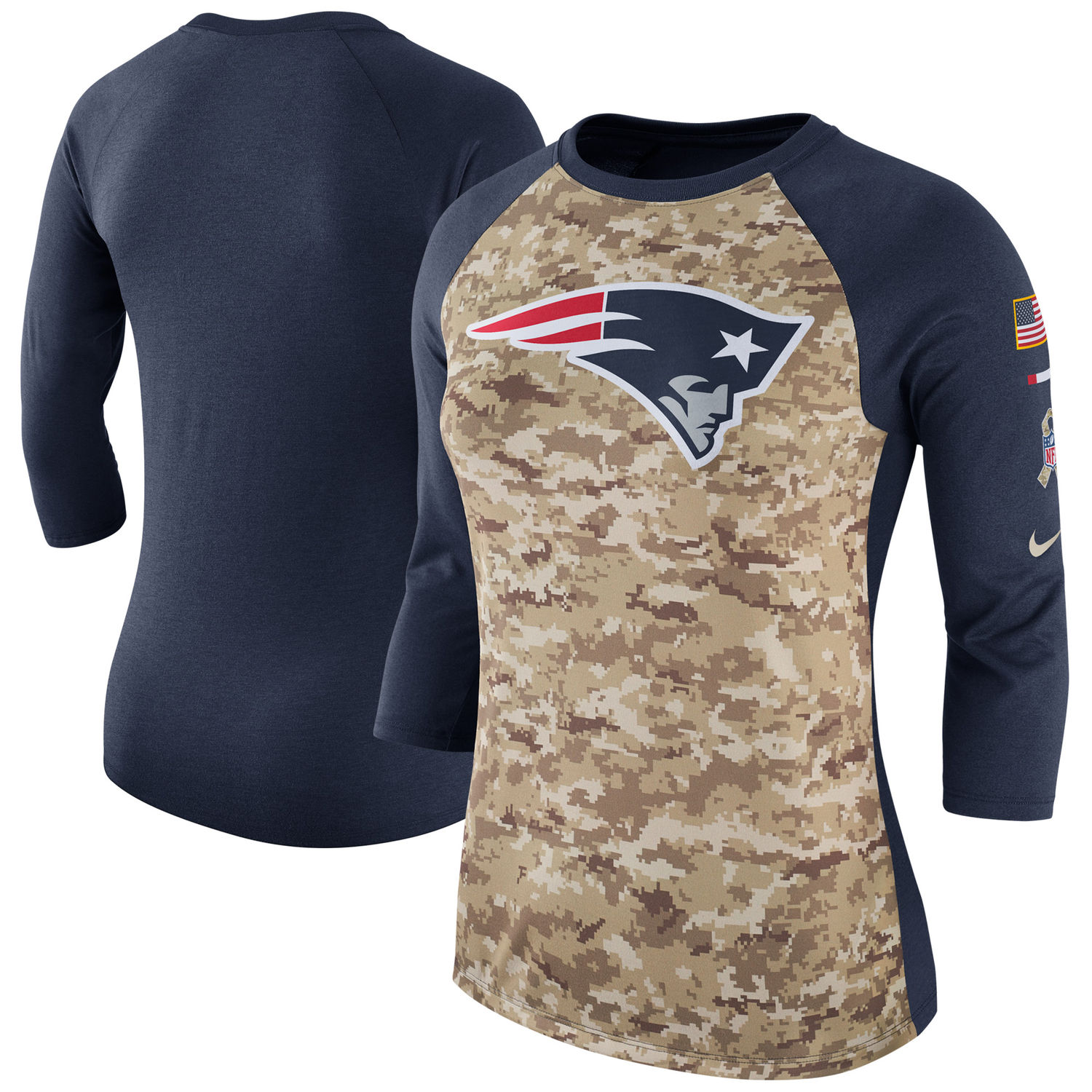 Women's New England Patriots Nike Camo Navy Salute to Service Legend Three-Quarter Raglan Sleeve T Shirt