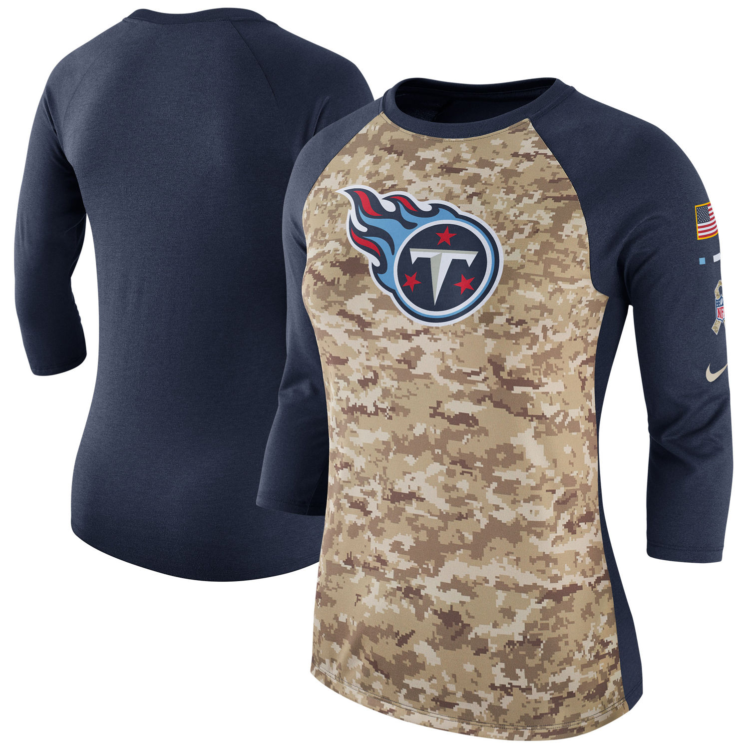 Women's Tennessee Titans Nike Camo Navy Salute to Service Legend Three-Quarter Raglan Sleeve T Shirt