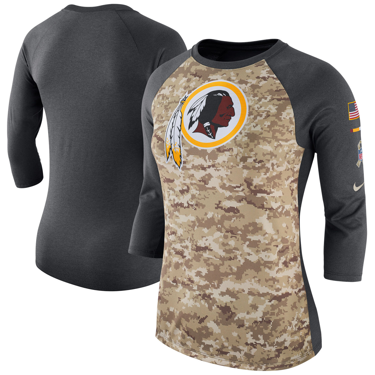 Women's Washington Redskins Nike Camo Charcoal Salute to Service Legend Three-Quarter Raglan Sleeve T Shirt