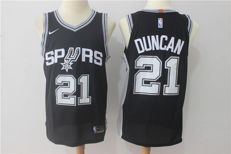 Spurs 21 Tim Duncan Black Nike Authentic Jersey