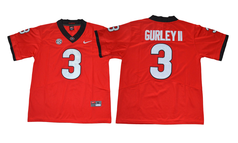 Georgia Bulldogs 3 Todd Gurley II Red College Football Jersey