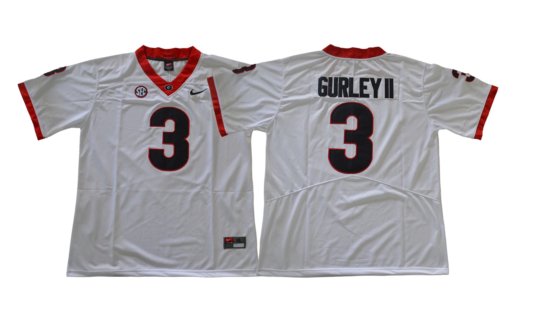 Georgia Bulldogs 3 Todd Gurley II White College Football Jersey