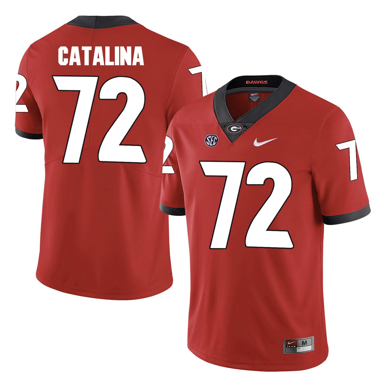 Georgia Bulldogs 72 Tyler Catalina Red College Football Jersey
