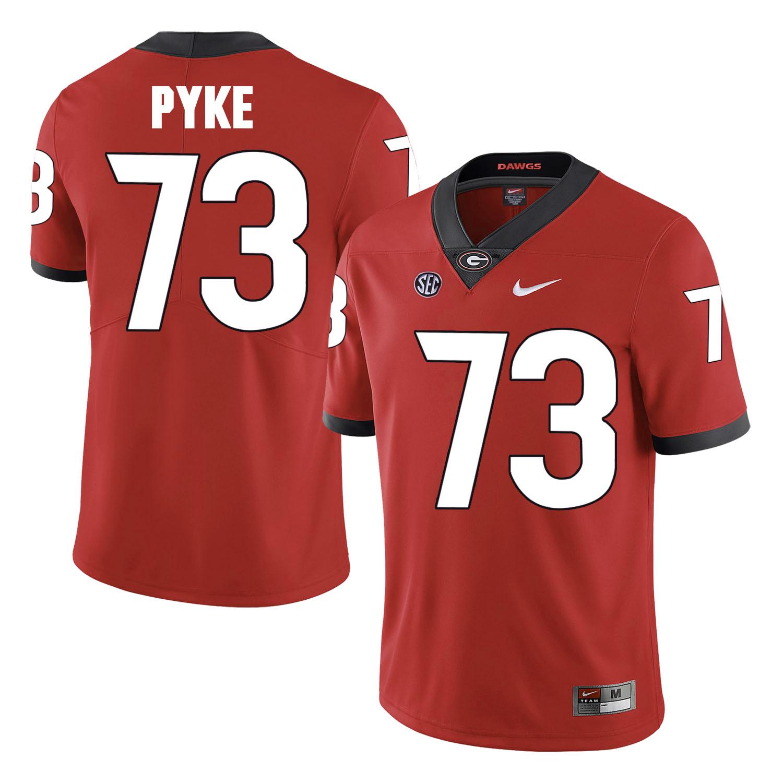 Georgia Bulldogs 73 Greg Pyke Red College Football Jersey