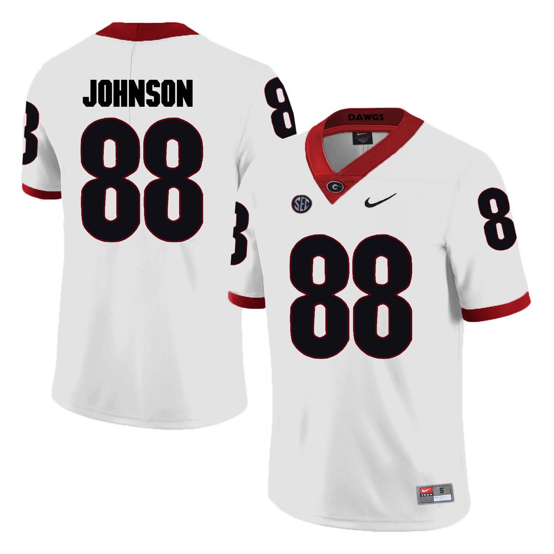 Georgia Bulldogs 88 Toby Johnson White College Football Jersey