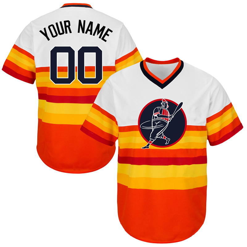 Astros Orange Men's Customized Throwback New Design Jersey