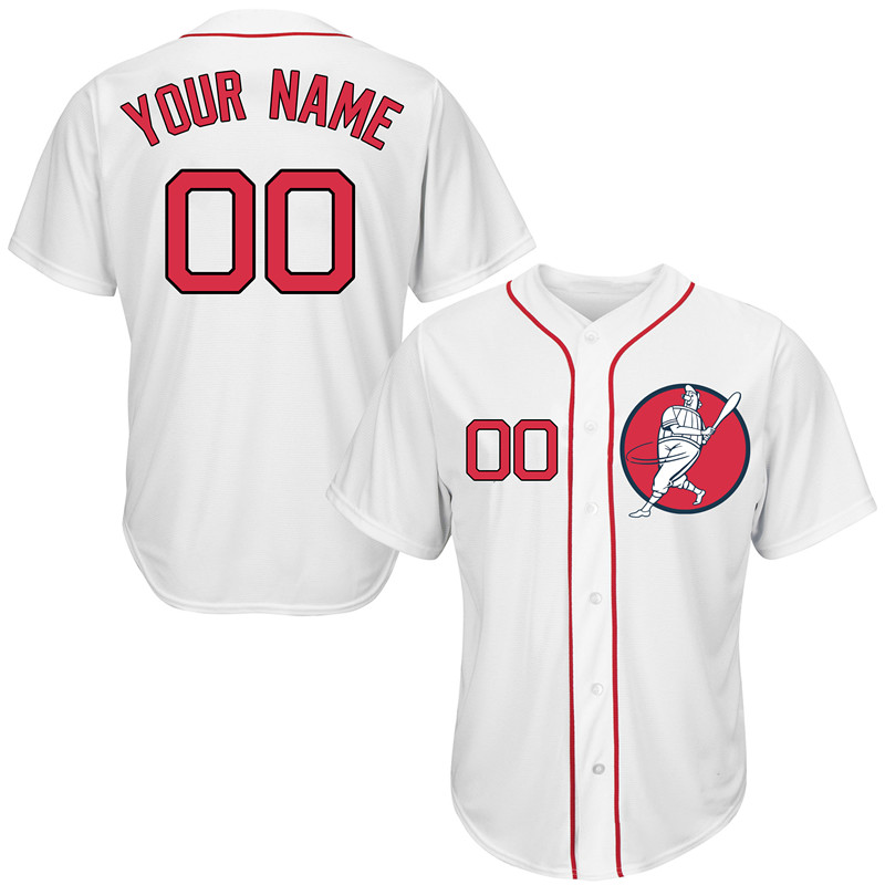 Red Sox White Men's Customized New Design Jersey