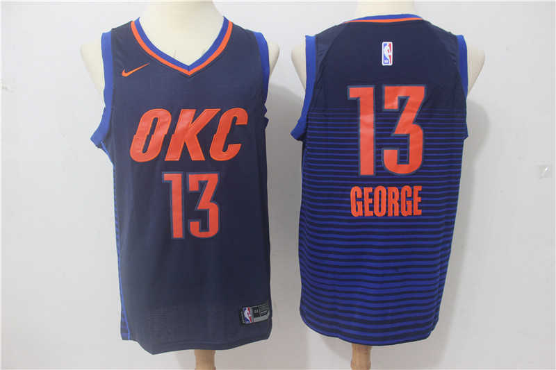 Thunder 13 Paul George Navy Nike Swingman Jersey