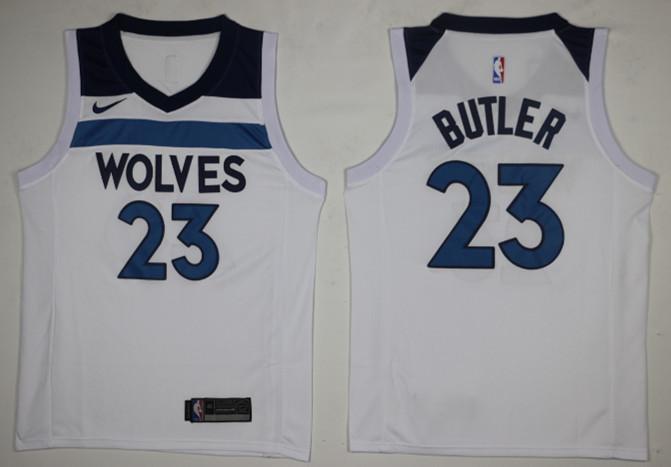 Timberwolves 23 Jimmy Butler White Nike Swingman Jersey(Without The Sponsor Logo)