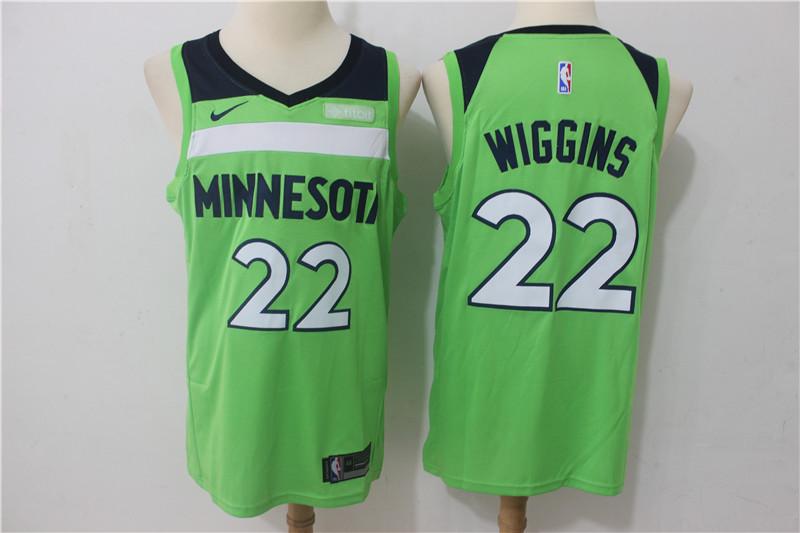 Timberwolves 22 Andrew Wiggins Green Nike Swingman Jersey