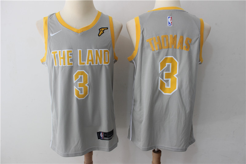 Cavaliers 3 Isaiah Thomas Gray The Land Nike Swingman Jersey