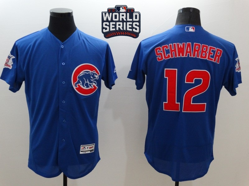 Cubs 12 Kyle Schwarber Royal 2016 World Series Flexbase Jersey