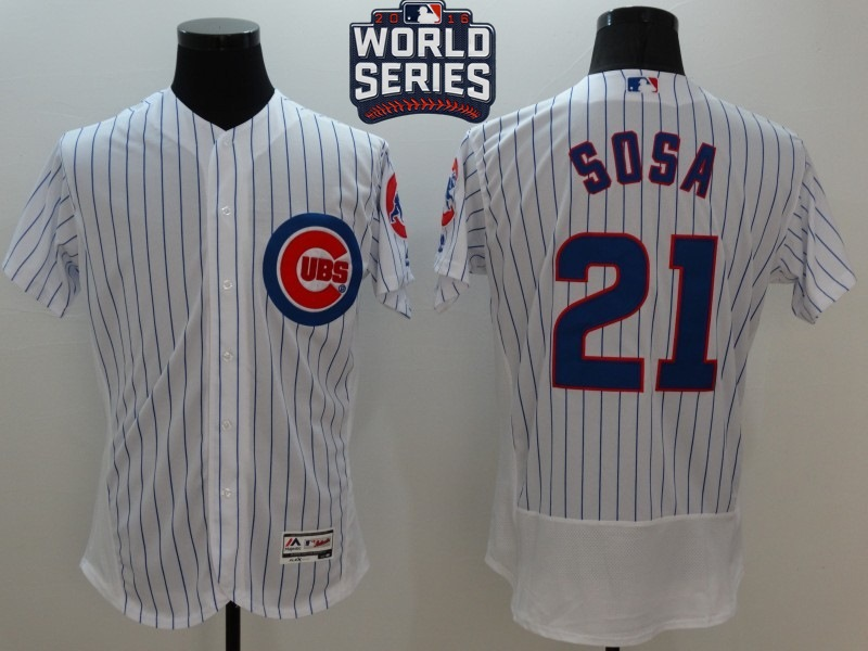 Cubs 21 Sammy Sosa White 2016 World Series Flexbase Jersey