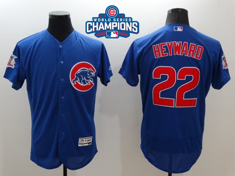 Cubs 22 Jason Heyward Royal 2016 World Series Champions Flexbase Jersey