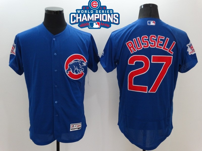 Cubs 27 Addison Russell Royal 2016 World Series Champions Flexbase Jersey