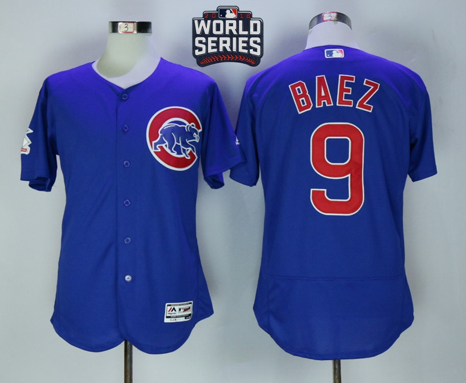 Cubs 9 Javier Baez Royal 2016 World Series Flexbase Jersey