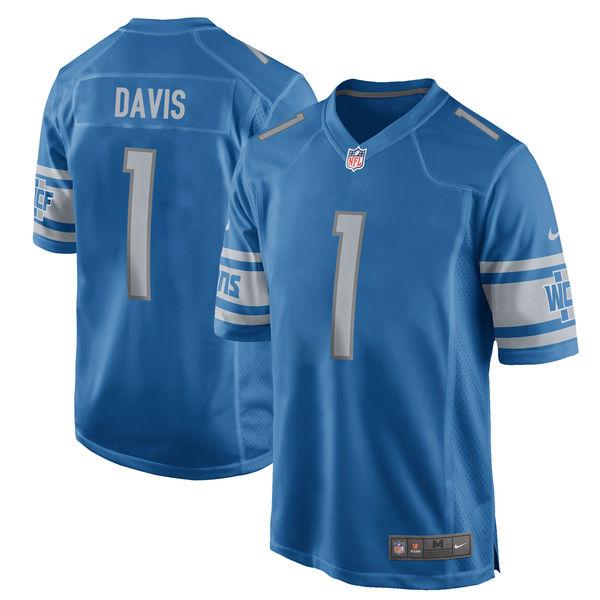 Nike Detroit Lions Jarrad Davis Blue 2017 Draft Pick Elite Jersey