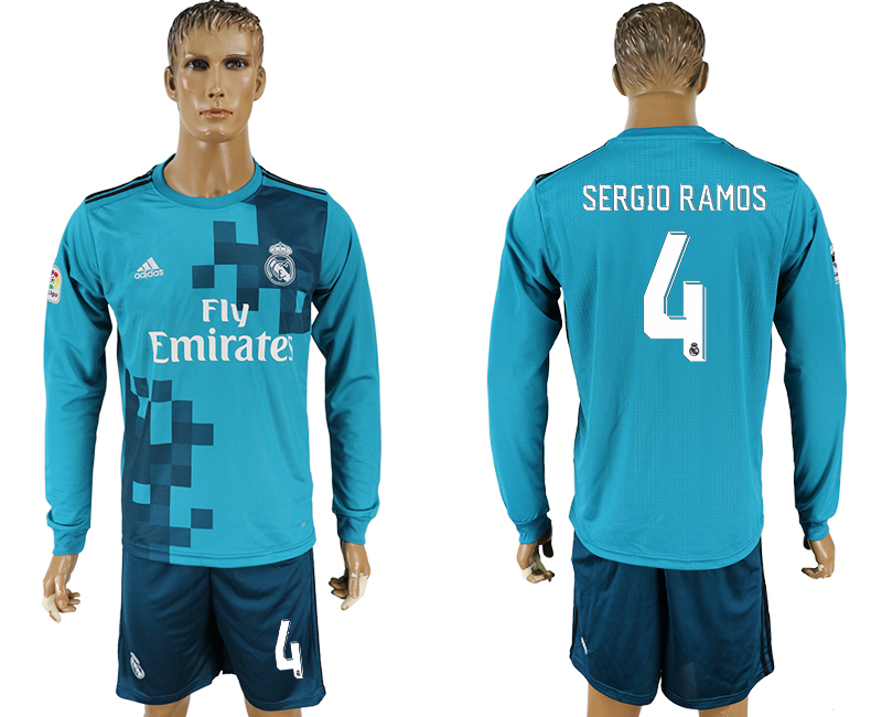 2017-18 Real Madrid 4 SERGIO RAMOS Away Long Sleeve Soccer Jersey