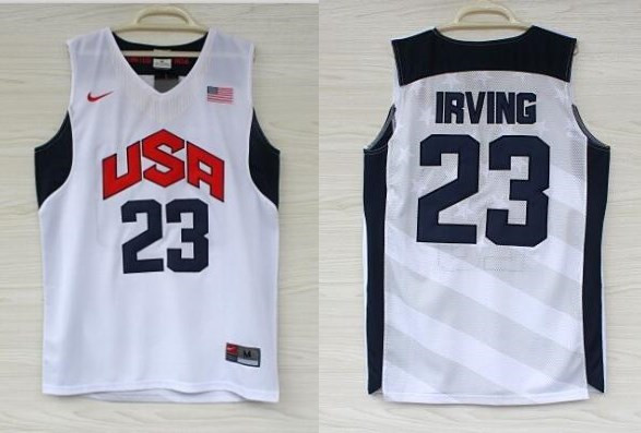 USA 23 Kyrie Irving White 2012 Olympic Basketball Team Jersey