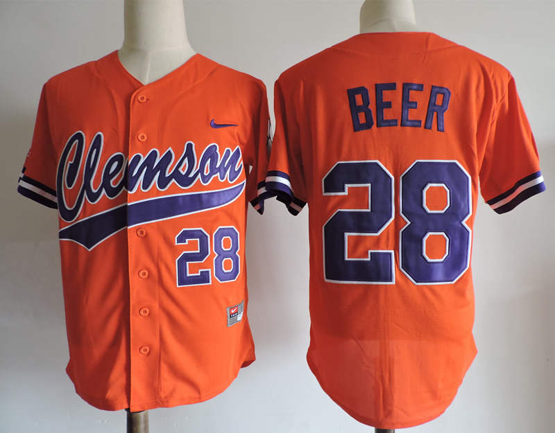 Clemson Tigers 28 Seth Beer Orange College Jersey