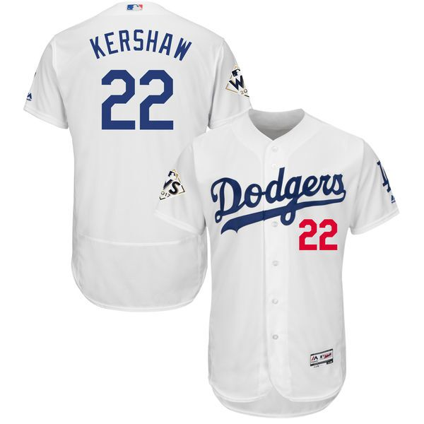Dodgers 22 Clayton Kershaw White 2017 World Series Bound Flexbase Player Jersey