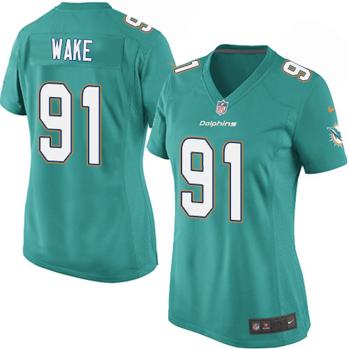 Nike Dolphins 91 Cameron Wake Aqua Women Game Jersey