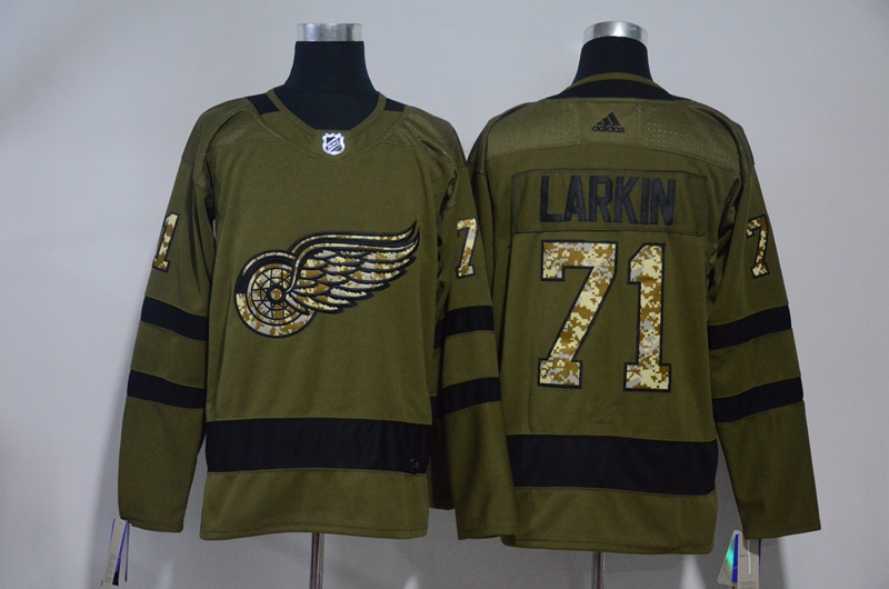 Red Wings 71 Dylan Larkin Olive Green Adidas Jersey