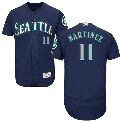 Mariners 11 Edgar Martinez Navy Flexbase Jersey