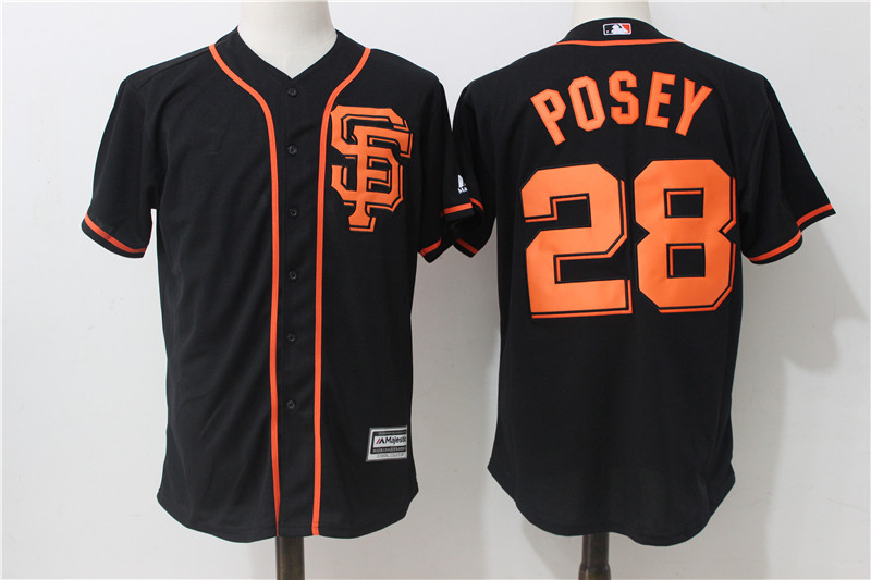 Giants 28 Buster Posey Black Alternate Cool Base Jersey