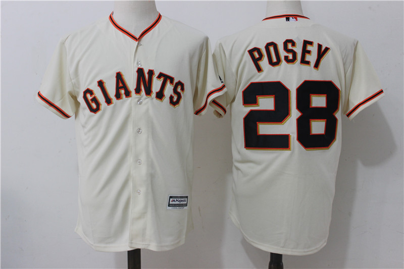 Giants 28 Buster Posey Cream Alternate Cool Base Jersey