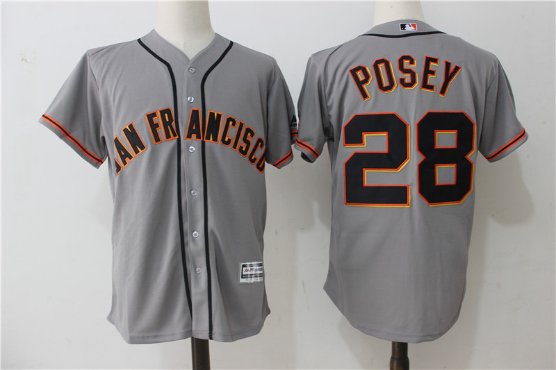 Giants 28 Buster Posey Gray Alternate Cool Base Jersey