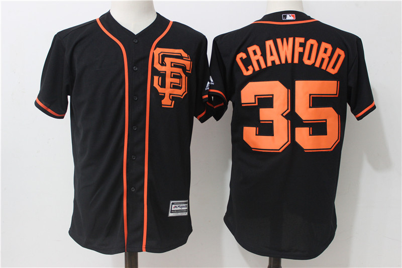 Giants 35 Brandon Crawford Black Alternate Cool Base Jersey