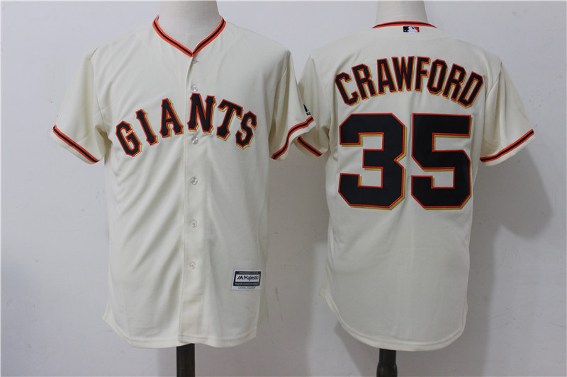 Giants 35 Brandon Crawford Cream Alternate Cool Base Jersey