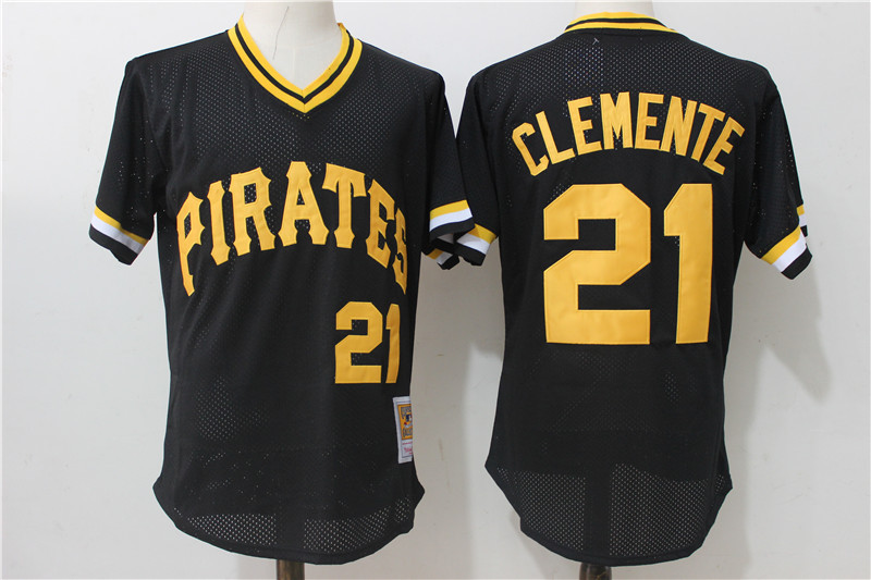 Pirates 21 Roberto Clemente Black Cooperstown Collection Mesh Batting Practice Jersey