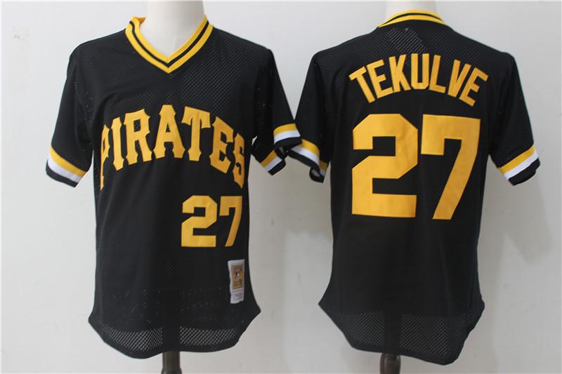 Pirates 27 Kent Tekulve Black 1982 Cooperstown Collection Mesh Batting Practice Jersey