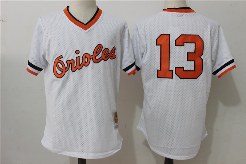 Orioles 13 Manny Machado White Cooperstown Collection Mesh Batting Practice Jersey