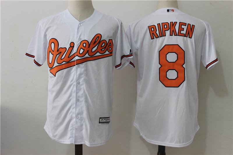 Orioles 8 Cal Ripken Jr White Cool Base Jersey
