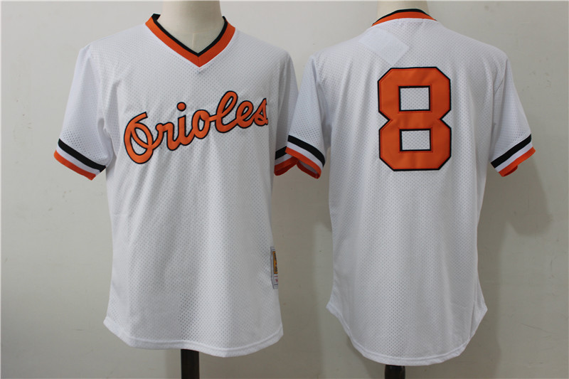 Orioles 8 Cal Ripken Jr White Cooperstown Collection Mesh Batting Practice Jersey