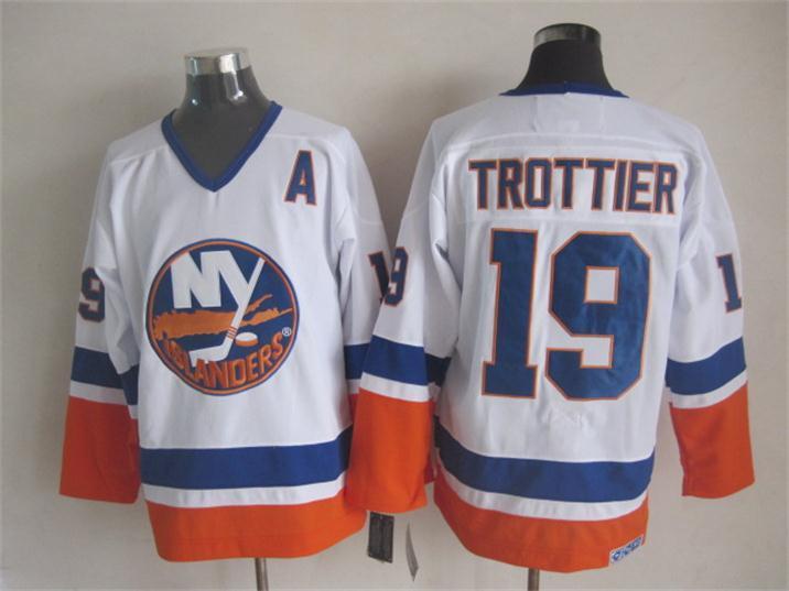 Islanders 19 Bryan Trottier White CCM Jersey