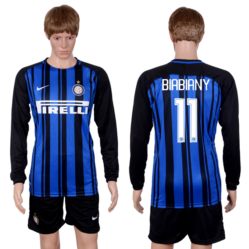 2017-18 Inter Milan 11 BIABIANY Home Long Sleeve Soccer Jersey