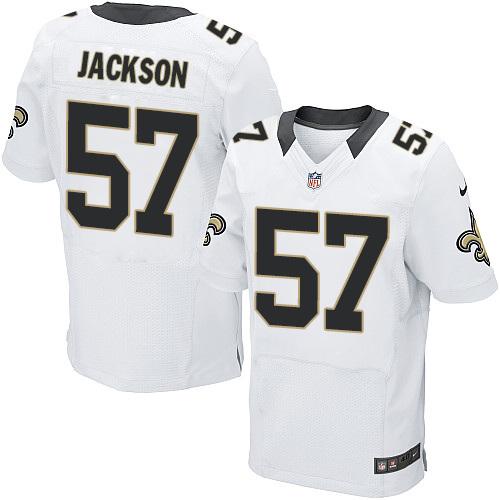 Nike Saints 57 Rickey Jackson White Elite Jersey