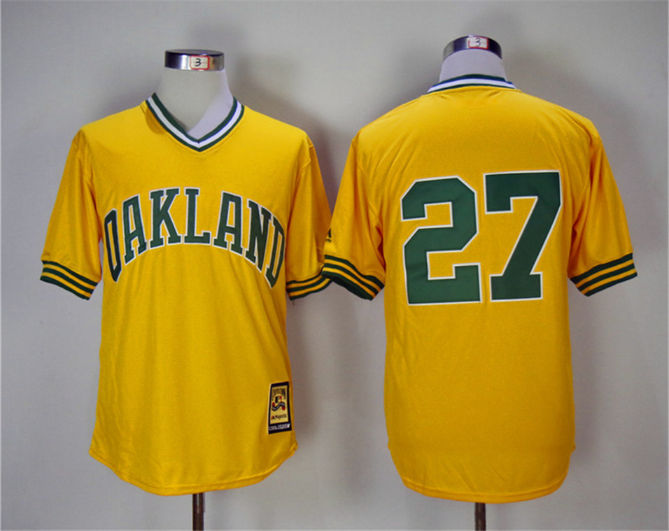 Athletics 27 Catfish Hunter Yellow Turn Back The Clock Copperstown Collection Jersey