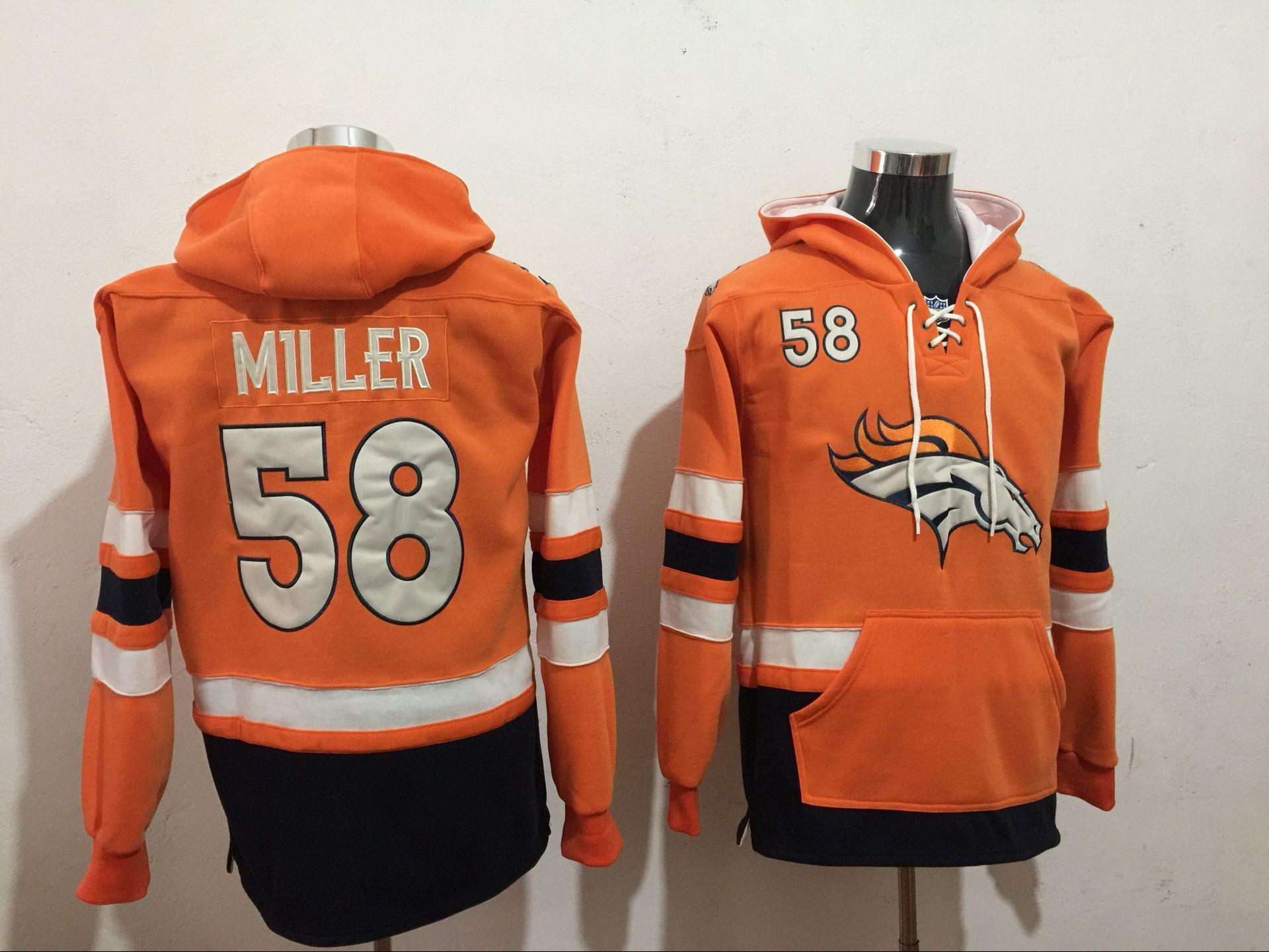 Denver Broncos 58 Von Miller Orange All Stitched Hooded Sweatshirt