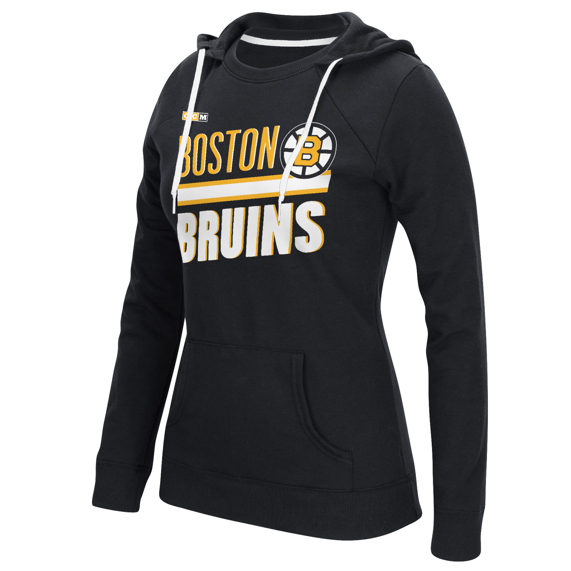 Bruins Black CCM Women's Customized All Stitched Hooded Sweatshirt