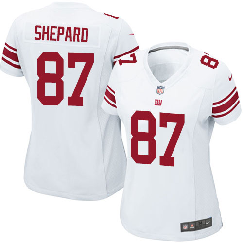 Nike Giants 87 Sterling Shepard White Women Game Jersey