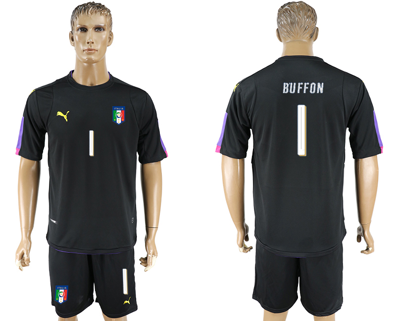 Italy 1 BUFFON Black UEFA Euro 2016 Goalkeeper Soccer Jersey