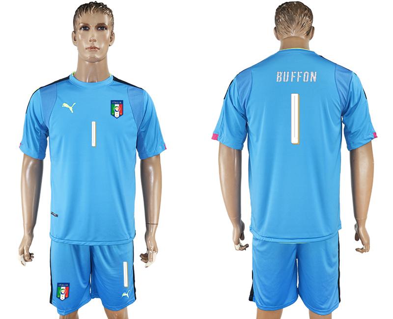 Italy 1 BUFFON Blue UEFA Euro 2016 Goalkeeper Soccer Jersey