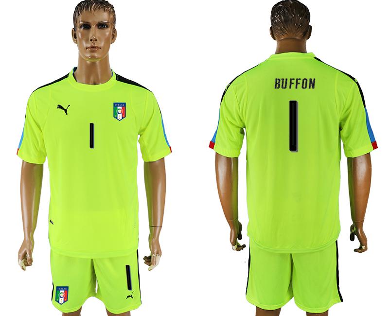 Italy 1 BUFFON Fluorescent Green UEFA Euro 2016 Goalkeeper Soccer Jerseyy